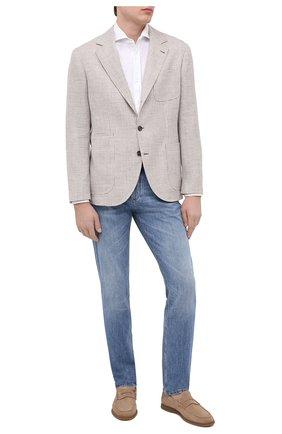 Мужская хлопковая рубашка BRUNELLO CUCINELLI белого цвета, арт. M0T656686 | Фото 2