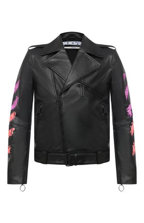 Мужская кожаная куртка OFF-WHITE черного цвета, арт. 0MJG016R21LEA001 | Фото 1