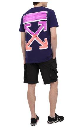 Мужская хлопковая футболка OFF-WHITE фиолетового цвета, арт. 0MAA027R21JER003   Фото 2 (Рукава: Короткие; Длина (для топов): Стандартные; Материал внешний: Хлопок; Принт: С принтом; Стили: Гранж)