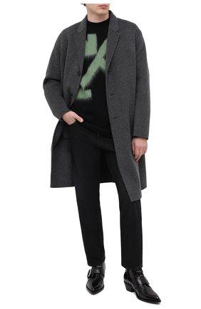 Мужские кожаные казаки OFF-WHITE черного цвета, арт. 0MID002R21LEA0011000 | Фото 2 (Материал внутренний: Натуральная кожа; Каблук высота: Высокий; Подошва: Плоская; Мужское Кросс-КТ: Сапоги-обувь, Казаки-обувь)