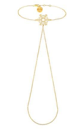 Женский браслет ажурная снежинка DZHANELLI золотого цвета, арт. 0240 | Фото 1