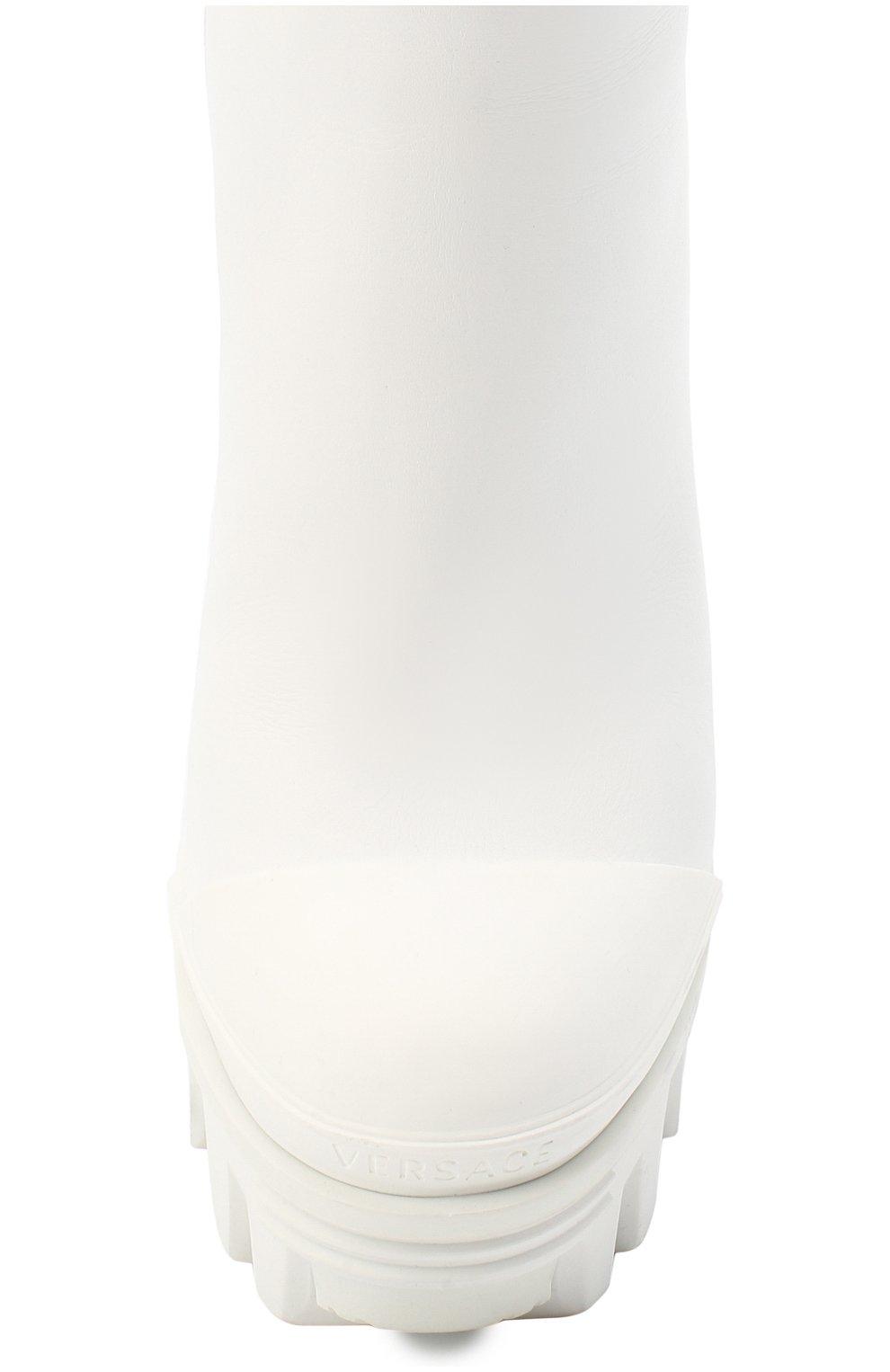 Женские кожаные ботильоны delphi VERSACE белого цвета, арт. DST494S/DVT2P   Фото 5