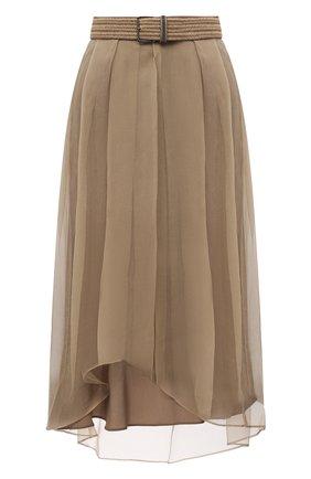 Женская шелковая юбка BRUNELLO CUCINELLI хаки цвета, арт. MF940G3070 | Фото 1