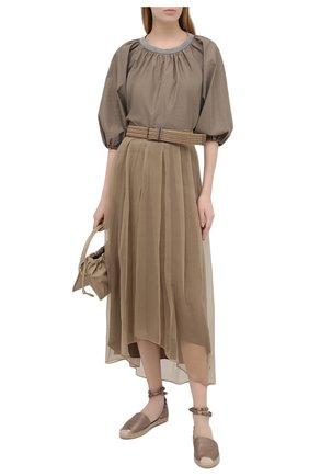 Женская шелковая юбка BRUNELLO CUCINELLI хаки цвета, арт. MF940G3070 | Фото 2