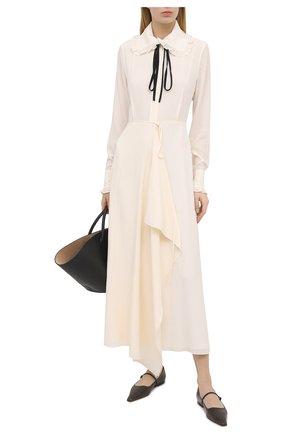 Женское шелковое платье VICTORIA BECKHAM кремвого цвета, арт. 1121WDR002283A | Фото 2