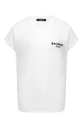 Женская хлопковая футболка BALMAIN черно-белого цвета, арт. VF11351/B013 | Фото 1