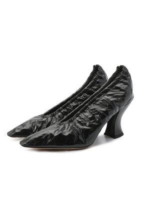 Женские кожаные туфли almond BOTTEGA VENETA черного цвета, арт. 651354/VBP10 | Фото 1