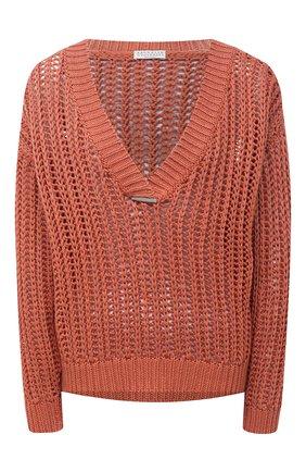 Женский хлопковый свитер BRUNELLO CUCINELLI оранжевого цвета, арт. M8E366902 | Фото 1