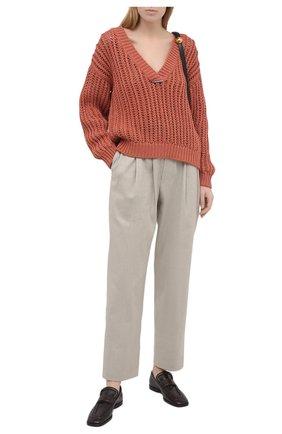 Женский хлопковый свитер BRUNELLO CUCINELLI оранжевого цвета, арт. M8E366902 | Фото 2