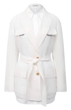 Женский шелковый жакет BRUNELLO CUCINELLI белого цвета, арт. MF940RN616 | Фото 1