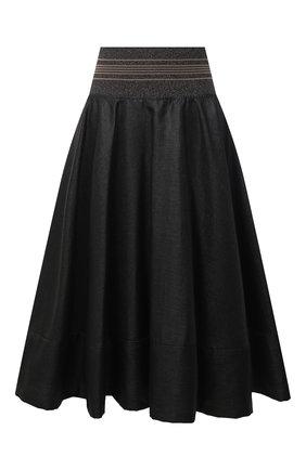 Женская льняная юбка BRUNELLO CUCINELLI черного цвета, арт. MH135G3051 | Фото 1