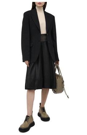 Женская льняная юбка BRUNELLO CUCINELLI черного цвета, арт. MH135G3051 | Фото 2
