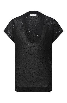 Женский топ из льна и шелка BRUNELLO CUCINELLI темно-серого цвета, арт. M10551012 | Фото 1