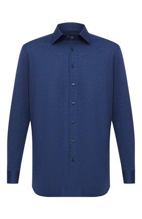 Мужская хлопковая рубашка ZILLI синего цвета, арт. MFU-64034-0001/0012/45-49 | Фото 1 (Случай: Повседневный; Воротник: Кент; Стили: Кэжуэл; Рубашки М: Regular Fit; Рукава: Длинные; Материал внешний: Хлопок; Длина (для топов): Стандартные)