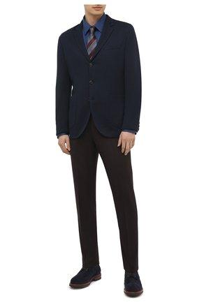 Мужская хлопковая рубашка ZILLI синего цвета, арт. MFU-64034-0001/0012/45-49 | Фото 2 (Случай: Повседневный; Воротник: Кент; Стили: Кэжуэл; Рубашки М: Regular Fit; Рукава: Длинные; Материал внешний: Хлопок; Длина (для топов): Стандартные)