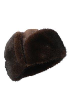 Мужская шапка-ушанка с отделкой из меха норки ZILLI коричневого цвета, арт. MHQ-0RS00-03001/1001 | Фото 1