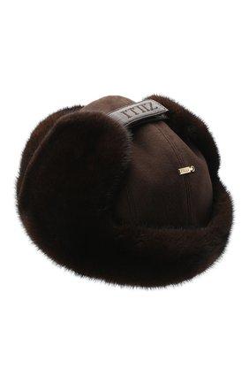 Мужская шапка-ушанка с отделкой из меха норки ZILLI коричневого цвета, арт. MHQ-0RS00-03001/1001 | Фото 2