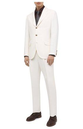 Мужской костюм изо льна и шелка BRUNELLO CUCINELLI белого цвета, арт. MW415LDWH | Фото 1