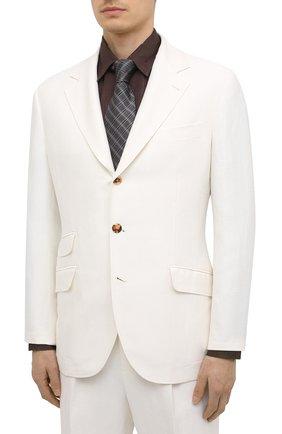 Мужской костюм изо льна и шелка BRUNELLO CUCINELLI белого цвета, арт. MW415LDWH | Фото 2