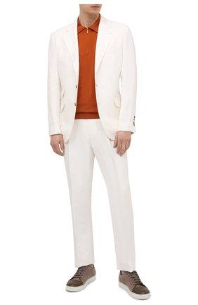 Мужское шерстяное поло LORO PIANA оранжевого цвета, арт. FAI6633 | Фото 2