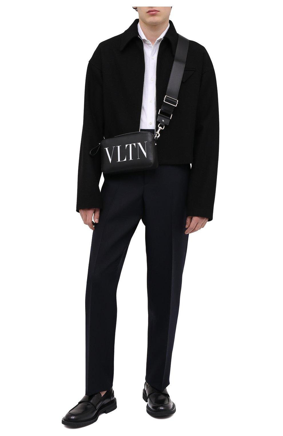 Мужская кожаная сумка vltn VALENTINO черного цвета, арт. VY2B0704/WJW   Фото 2 (Материал: Натуральная кожа; Ремень/цепочка: На ремешке)