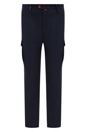 Мужские шерстяные брюки-карго KITON синего цвета, арт. UFPPCAK01T52/44-52 | Фото 1