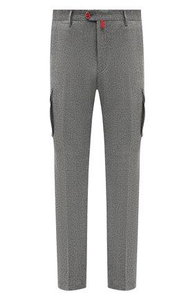 Мужские шерстяные брюки-карго KITON серого цвета, арт. UFPPCAK01L53/44-52 | Фото 1