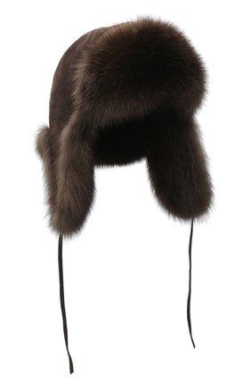 Шапка-ушанка с отделкой из меха соболя | Фото №1