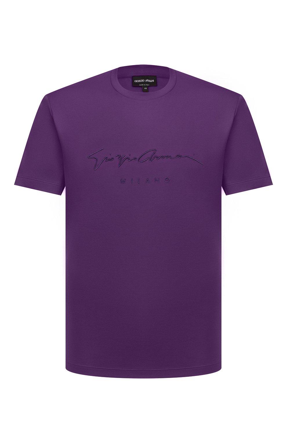 Мужская хлопковая футболка GIORGIO ARMANI фиолетового цвета, арт. 6GSM90/SJRQZ   Фото 1 (Рукава: Короткие; Длина (для топов): Стандартные; Принт: С принтом; Материал внешний: Хлопок; Стили: Кэжуэл)