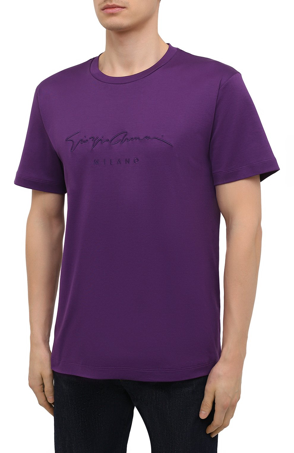 Мужская хлопковая футболка GIORGIO ARMANI фиолетового цвета, арт. 6GSM90/SJRQZ   Фото 3 (Рукава: Короткие; Длина (для топов): Стандартные; Принт: С принтом; Материал внешний: Хлопок; Стили: Кэжуэл)