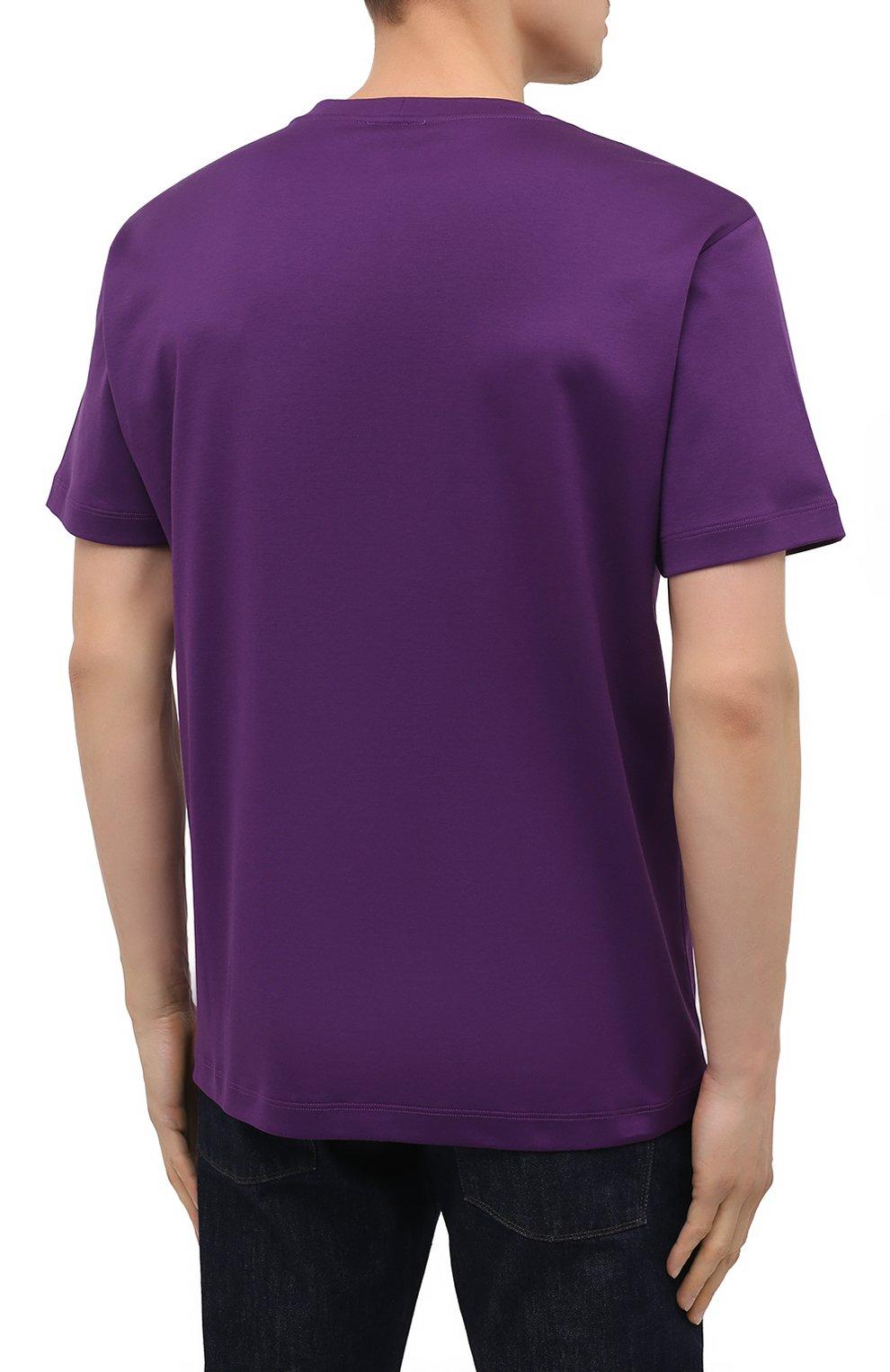 Мужская хлопковая футболка GIORGIO ARMANI фиолетового цвета, арт. 6GSM90/SJRQZ   Фото 4 (Рукава: Короткие; Длина (для топов): Стандартные; Принт: С принтом; Материал внешний: Хлопок; Стили: Кэжуэл)