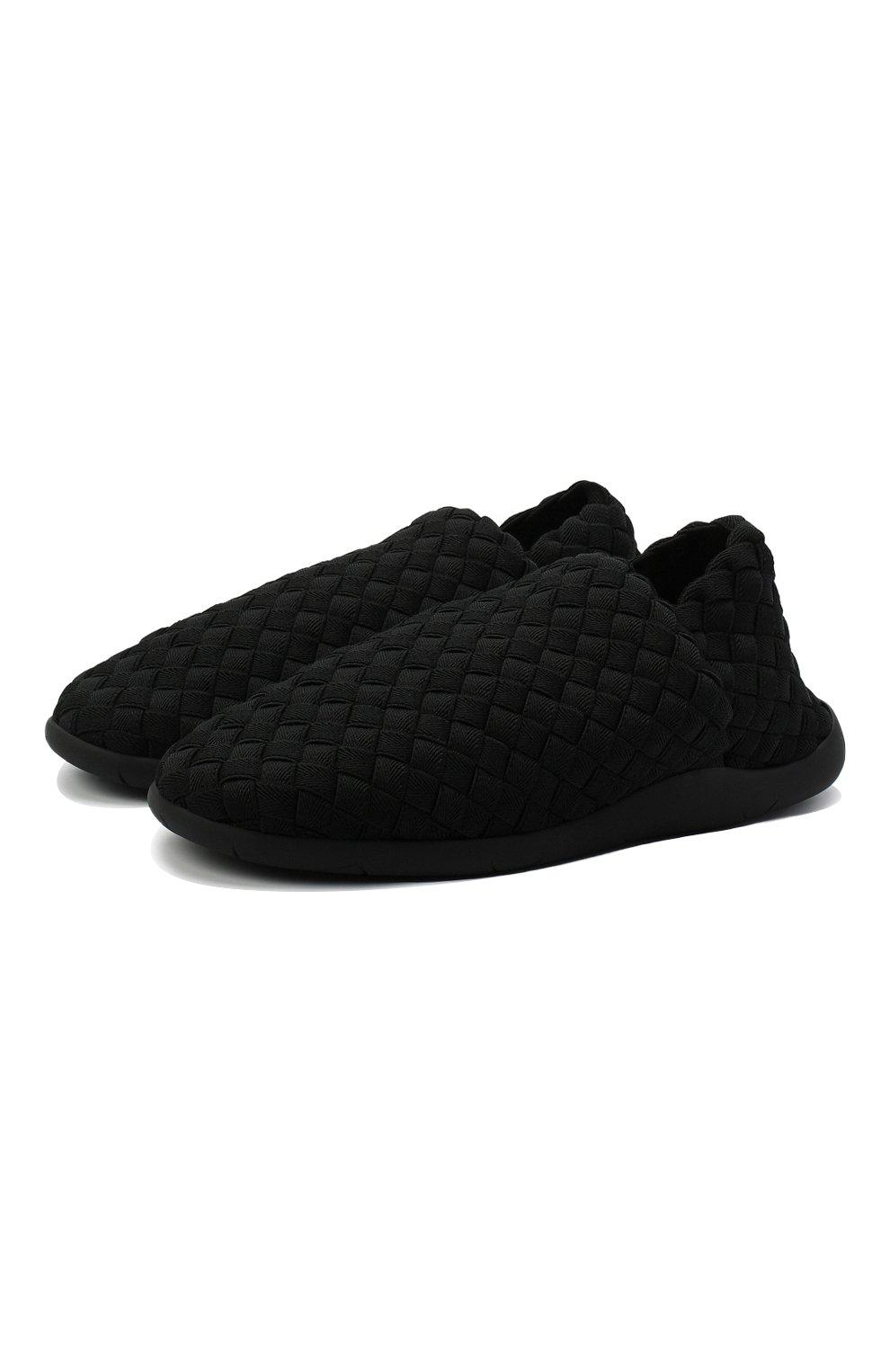 Мужские текстильные слиперы BOTTEGA VENETA черного цвета, арт. 651271/V0GV0   Фото 1 (Материал внешний: Текстиль; Материал внутренний: Натуральная кожа, Текстиль; Мужское Кросс-КТ: Слиперы-обувь; Стили: Кэжуэл)