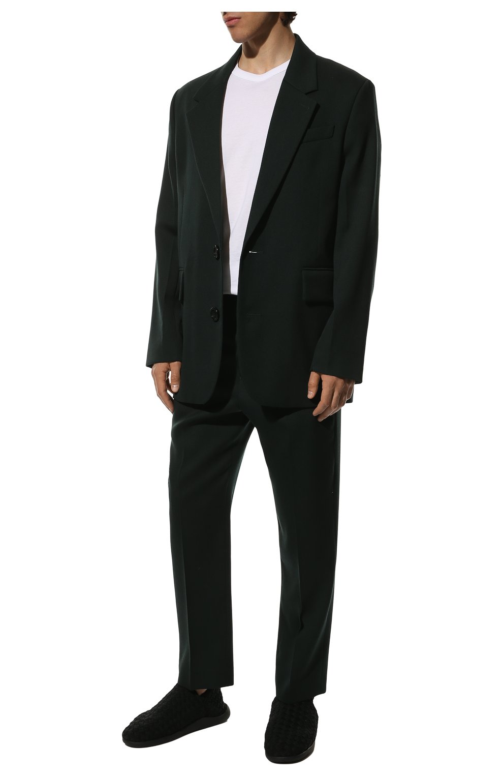 Мужские текстильные слиперы BOTTEGA VENETA черного цвета, арт. 651271/V0GV0   Фото 2 (Материал внешний: Текстиль; Материал внутренний: Натуральная кожа, Текстиль; Мужское Кросс-КТ: Слиперы-обувь; Стили: Кэжуэл)