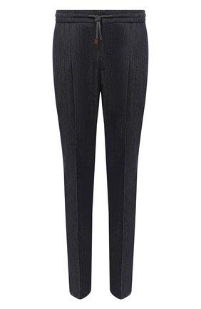 Мужские шерстяные брюки BRUNELLO CUCINELLI темно-синего цвета, арт. ML476E1740 | Фото 1 (Длина (брюки, джинсы): Стандартные; Стили: Кэжуэл; Материал внешний: Шерсть; Случай: Повседневный)