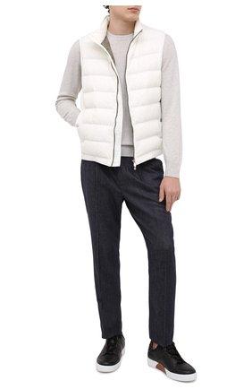 Мужские шерстяные брюки BRUNELLO CUCINELLI темно-синего цвета, арт. ML476E1740 | Фото 2 (Длина (брюки, джинсы): Стандартные; Стили: Кэжуэл; Материал внешний: Шерсть; Случай: Повседневный)