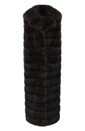 Женский жилет из меха соболя YVES SALOMON темно-коричневого цвета, арт. 20WYG38221ZICV | Фото 1