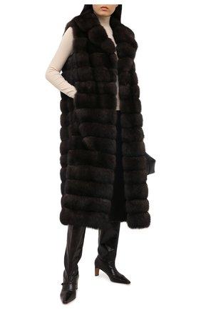 Женский жилет из меха соболя YVES SALOMON темно-коричневого цвета, арт. 20WYG38221ZICV | Фото 2