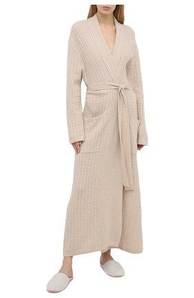 Женский кашемировый халат ARLOTTA светло-бежевого цвета, арт. 2020 | Фото 2