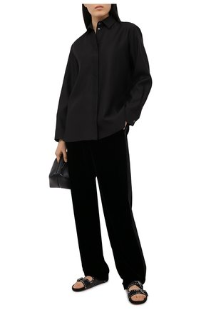 Женские брюки из вискозы и шелка GIORGIO ARMANI черного цвета, арт. 1SHPP0GB/T01FD | Фото 2