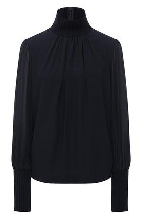 Женская шелковая блузка CHLOÉ темно-синего цвета, арт. CHC21SHT08002 | Фото 1
