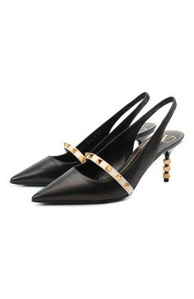 Женские кожаные туфли valentino garavani rockstud VALENTINO черно-белого цвета, арт. VW2S0BK6/FHQ | Фото 1