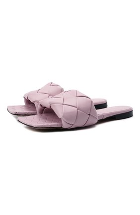 Женские кожаные шлепанцы lido BOTTEGA VENETA светло-розового цвета, арт. 608853/VBSS0 | Фото 1