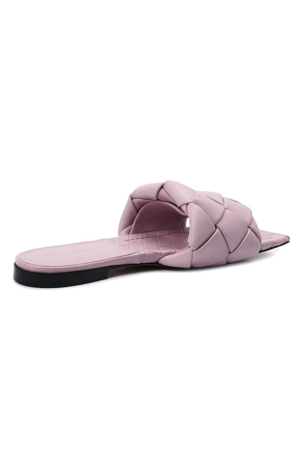 Женские кожаные шлепанцы lido BOTTEGA VENETA светло-розового цвета, арт. 608853/VBSS0 | Фото 4