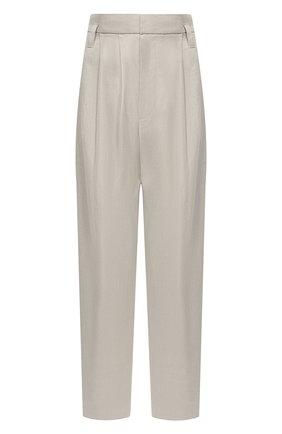 Женские брюки из хлопка и льна BRUNELLO CUCINELLI светло-серого цвета, арт. MF591P7636 | Фото 1