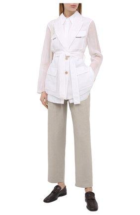 Женские брюки из хлопка и льна BRUNELLO CUCINELLI светло-серого цвета, арт. MF591P7636 | Фото 2