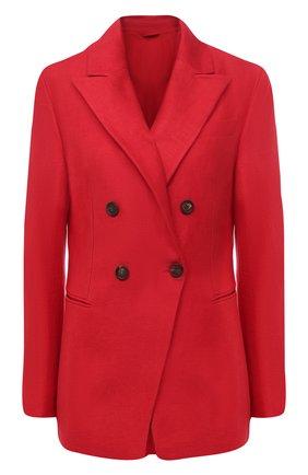 Женский льняной жакет BRUNELLO CUCINELLI красного цвета, арт. MH5062060 | Фото 1