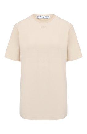 Женская хлопковая футболка OFF-WHITE бежевого цвета, арт. 0WAA049R21JER010 | Фото 1 (Длина (для топов): Стандартные; Стили: Кэжуэл; Материал внешний: Хлопок; Принт: С принтом; Рукава: Короткие; Женское Кросс-КТ: Футболка-одежда)