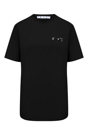Женская хлопковая футболка OFF-WHITE черного цвета, арт. 0WAA049R21JER001 | Фото 1 (Принт: С принтом; Материал внешний: Хлопок; Длина (для топов): Стандартные; Рукава: Короткие; Стили: Кэжуэл; Женское Кросс-КТ: Футболка-одежда)