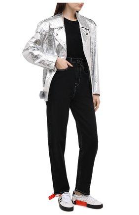Женская хлопковая футболка OFF-WHITE черного цвета, арт. 0WAA049R21JER001 | Фото 2 (Принт: С принтом; Материал внешний: Хлопок; Длина (для топов): Стандартные; Рукава: Короткие; Стили: Кэжуэл; Женское Кросс-КТ: Футболка-одежда)