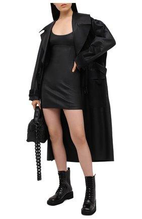 Женское кожаное платье ALEXANDER WANG черного цвета, арт. 1WC2206327 | Фото 2